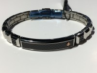 Zancan Gioielli Fashion per uomozancan bracciale uomo in acciaio targhetta centrale carbonio hb080