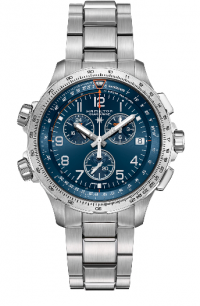 HAMILTON KHAKI AVIATION X-WIND GMT CHRONO QUARTZ H77922141 BLU